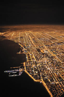 Lights Of Chicago Burn Brightly Print by Jim Richardson
