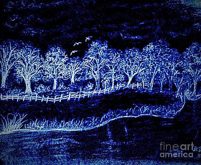 Lights On The Farm's Pond At Night Print by Debra Lynch