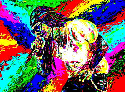 Rapper Painting - Lil Wayne by Mike OBrien