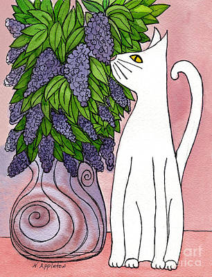Lilac Sniffing Cat Print by Norma Appleton