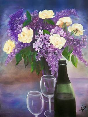 Roses Painting - Lilacs  Roses And Wine by Joni M McPherson