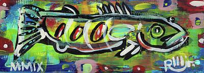 Lil'funky Folk Fish Number Eighteen Print by Robert Wolverton Jr