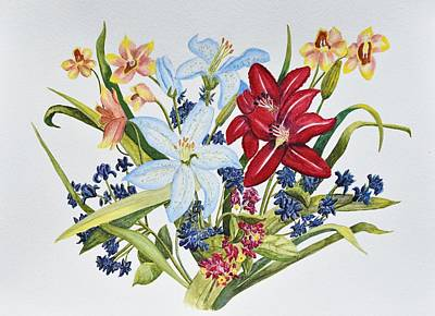 Lilies And Orchids Print by Linda Brody