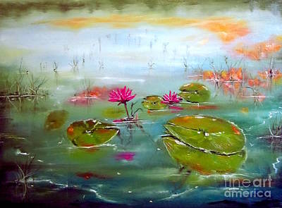 Waterlily Drawing - Lilies by Susan Art