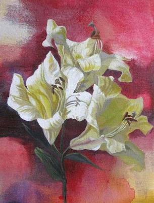 Lilies With Red Print by Alfred Ng