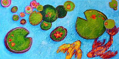 Lily Pads Waterlilies Pond Modern Impressionist Landscape Painting Palette Knife Work Original by Patricia Awapara