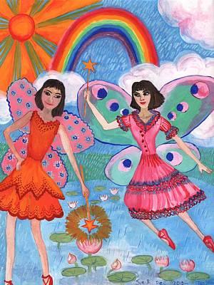 Sue Burgess Painting - Lily Pond Fairies by Sushila Burgess