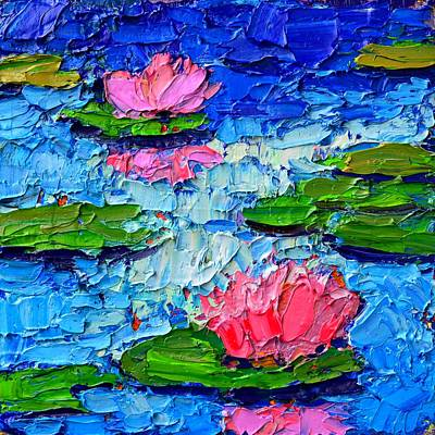 Lotus Leaves Painting - Lily Pond Impression 7 by Ana Maria Edulescu
