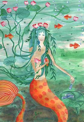 Sue Burgess Painting - Lily Pond Mermaid With Goldfish Snack by Sushila Burgess