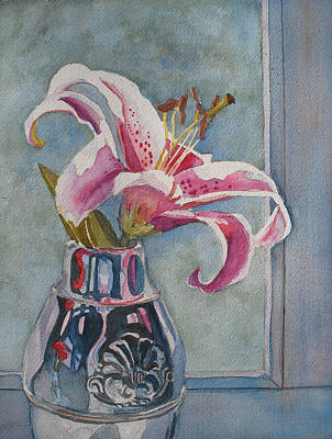 Carnation Painting - Lily With Carnations by Jenny Armitage