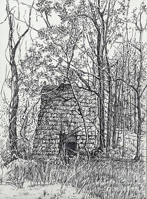 Tn Drawing - Lime Kiln, Erin, Tn by Janet Felts
