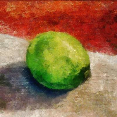 Closeup Print featuring the painting Lime Still Life by Michelle Calkins