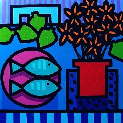 Tropical Fish Painting - Limes Fish Flowers by John  Nolan