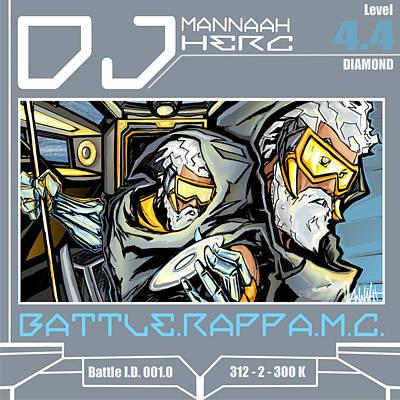 Hop Drawing - Limited Xl Edition Dj Mannaah Herc Battle I.d. 001.0 by Mannaah Blackwell