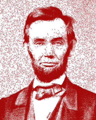 Lincoln Abstract Red Print by Greg Collins