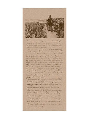 America Mixed Media - Lincoln And The Gettysburg Address by War Is Hell Store