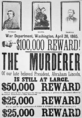 Lincoln Drawing - Lincoln Assassination Wanted Poster by American School