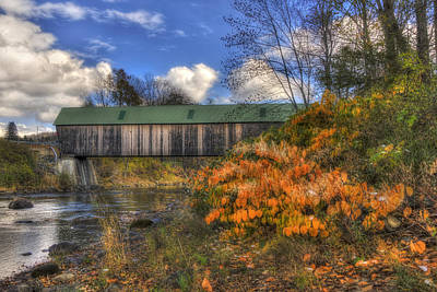 Fall Photograph - Lincoln Covered Bridge - Woodstock, Vt by Joann Vitali