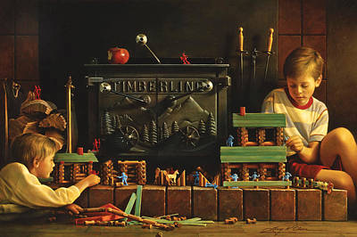 Boy Painting - Lincoln Logs by Greg Olsen