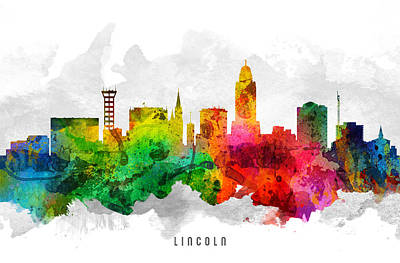 Lincoln City Painting - Lincoln Nebraska Cityscape 12 by Aged Pixel