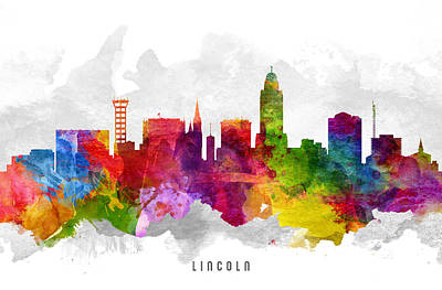 Lincoln City Painting - Lincoln Nebraska Cityscape 13 by Aged Pixel