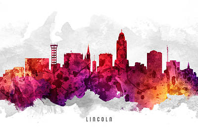 Lincoln City Painting - Lincoln Nebraska Cityscape 14 by Aged Pixel