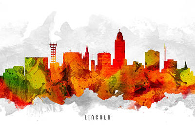 Lincoln City Painting - Lincoln Nebraska Cityscape 15 by Aged Pixel