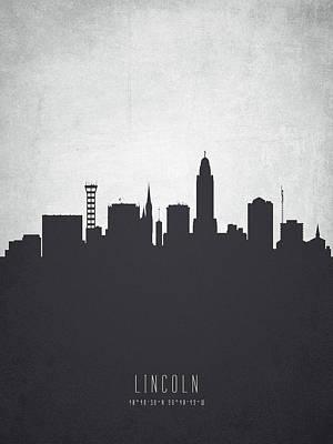 Lincoln Nebraska Cityscape 19 Print by Aged Pixel
