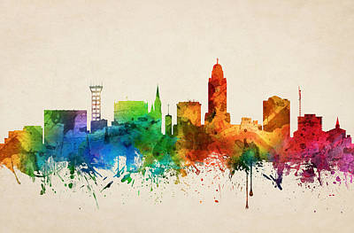 Lincoln City Painting - Lincoln Nebraska Skyline 05 by Aged Pixel