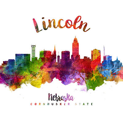 Lincoln City Painting - Lincoln Nebraska Skyline 23 by Aged Pixel