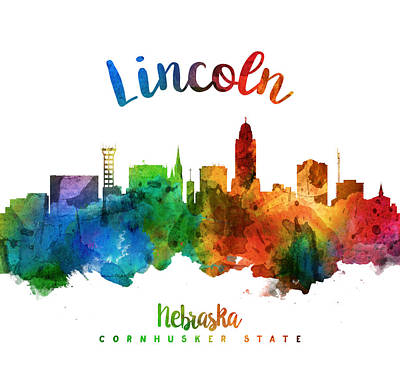 Lincoln City Painting - Lincoln Nebraska Skyline 25 by Aged Pixel
