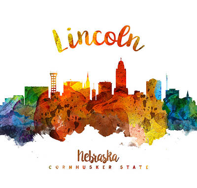 Lincoln City Painting - Lincoln Nebraska Skyline 26 by Aged Pixel