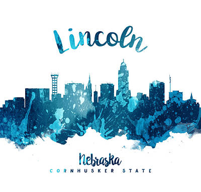 Lincoln City Painting - Lincoln Nebraska Skyline 27 by Aged Pixel