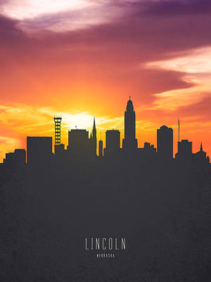Lincoln City Painting - Lincoln Nebraska Sunset Skyline 01 by Aged Pixel