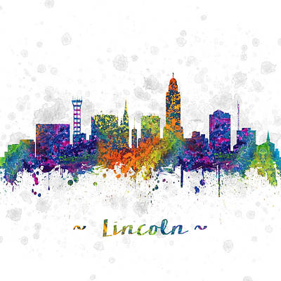 Lincoln Drawing - Lincoln Nebraska Skyline Color 03sq by Aged Pixel