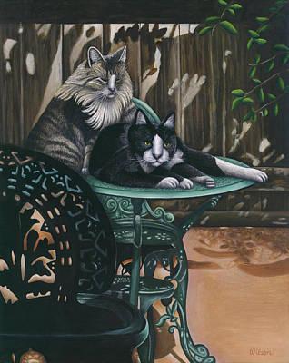 Maine Painting - Linda's Patio Cats by Carol Wilson