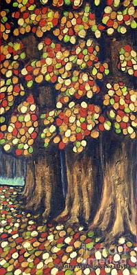 Polscy Malarze Painting - Linden Trees In The Fall by Anna Folkartanna Maciejewska-Dyba