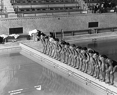 Young Man Photograph - Lineup Of Ncaa Men Swimmers by Underwood Archives