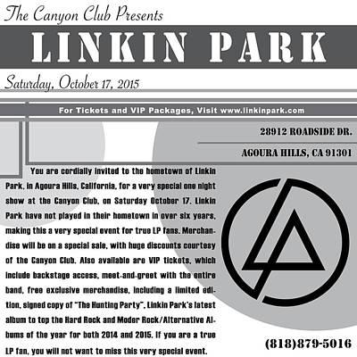Linkin Park Digital Art - Linkin Park, Canyon Club Invitation Gray by Leon Gorani