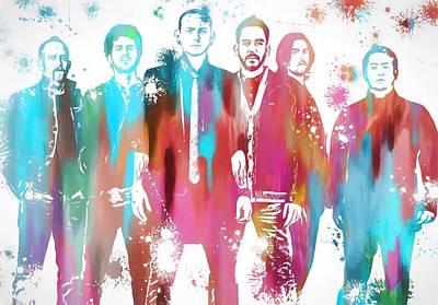 Jay Z Painting - Linkin Park Watercolor Paint Splatter by Dan Sproul