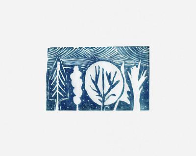 Linocut Trees Print by Anastasia Bogdanova