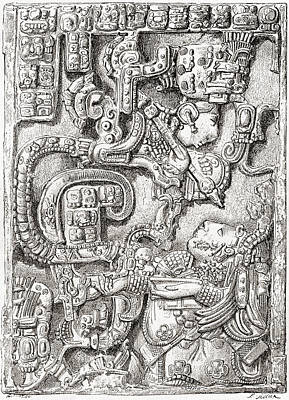 Lintel 25 Of Yaxchilan Structure 23 Print by Vintage Design Pics