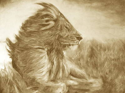 Lion Print by Adrienne Martino