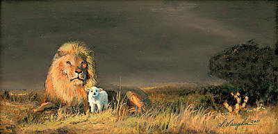 Lion And The Lamb Painting - Lion And The Lamb by Sidney Vaughn
