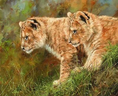 Lion Cubs Original by David Stribbling