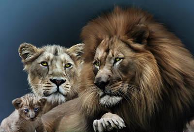 Lion Family Print by Julie L Hoddinott