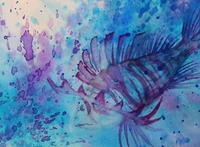 Fish Underwater Painting - Lion Fish by Alanna Garrett