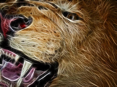 Teeth Mixed Media - Lion Fractal by Shane Bechler