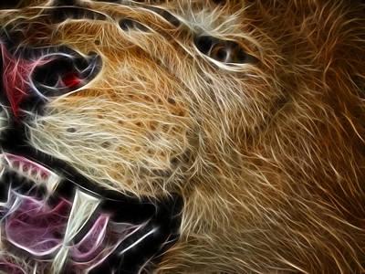 Lion Fractal Print by Shane Bechler
