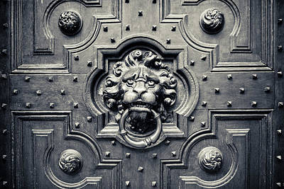 Lock Photograph - Lion Head Door Knocker by Adam Romanowicz